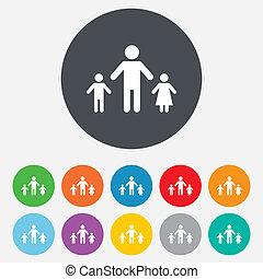 one-parent, familia con dos niños, señal, icon.