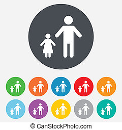 One-parent family with one child sign icon. Father with...