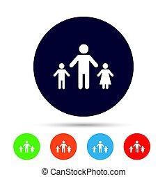 one-parent, rodinný nehledě k 2 dítě, firma, icon.