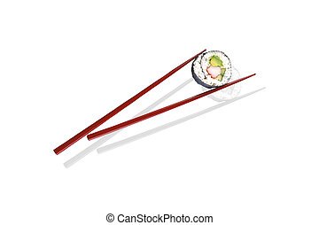 One peace of salmon sushi maki in wooden red chopsticks isolated on white background