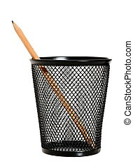 One pencil in a wire mesh pencil holder.
