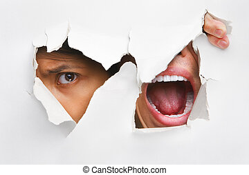 One people peeking and the other screaming from the hole in wall