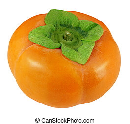 One persimmon - Single persimmon fruit isolated on white ...