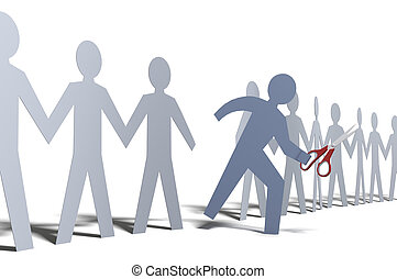 One person cut out of paper doll line - Person steps out of...