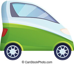 One person hybrid car icon, cartoon style - One person ...