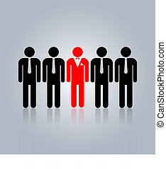 one person is selection from the crowd because he has a different mind.