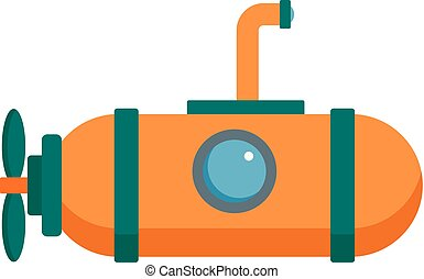 One person submarine icon, flat style - One person submarine...
