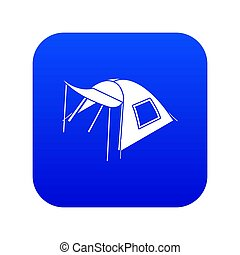 One person tent icon blue isolated on white background