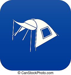 One person tent icon blue vector