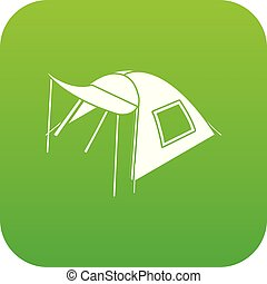 One person tent icon green vector isolated on white ...