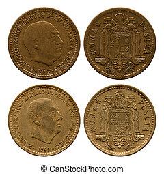 one peseta, Spain, Francisco Franco, 1947, 1966