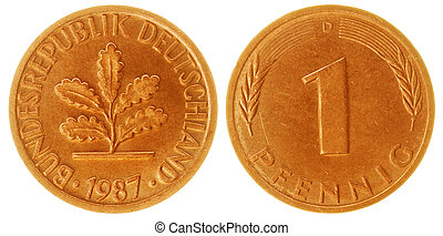 One Pfennig Coin Isolated