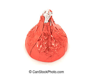 One piece of milk chocolate in red wrapping macro isolated