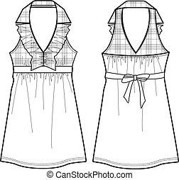 one-piece, ruha, hölgy, kockás