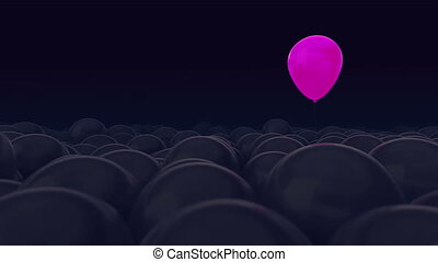 One pink balloon is opposed by many other balloons. Dark ...