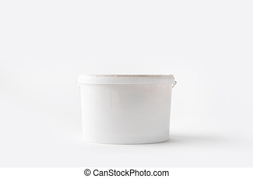 one plastic bucket with paint isolated on white