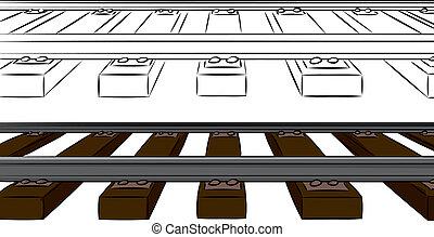One Point Railroad Tracks - Railroad tracks cartoon in color...