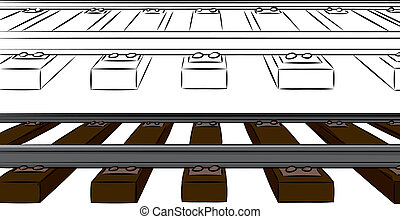 One Point Railroad Tracks - Railroad tracks cartoon in color...