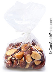 One Pound Bag of Brazil Nuts Over White