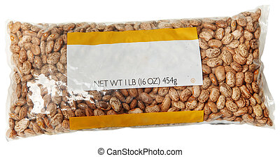 One Pound Blank Label Bag of Pinto Beans