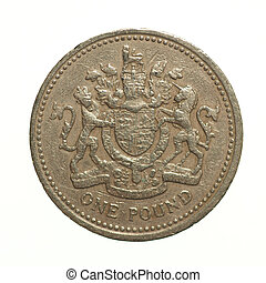 One Pound coin - Pound coin - 1 Pound currency of the United...