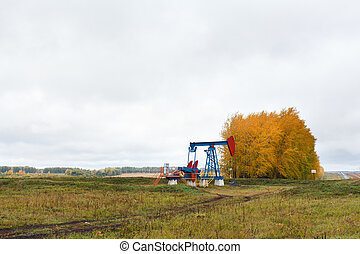 One pump jacks on a oil field. Autumn