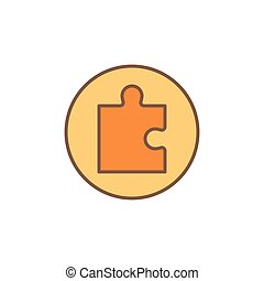 One Puzzle Piece in Circle vector concept yellow icon