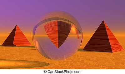 One pyramid upside down in a sphere and two others in desert