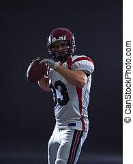 american football player throwing ball - one quarterback...