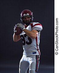 american football player throwing ball - one quarterback...