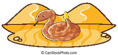 One rattle snake in the desert ground illustration