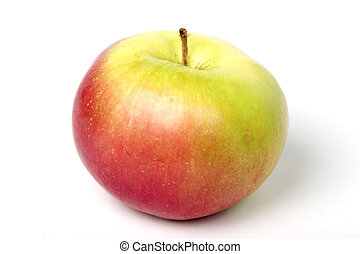 One red and green apple, with clipping path