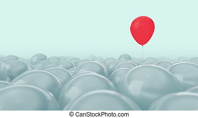 One red balloon is opposed by many other balloons. Bright blue light background. Ideal title text background. One against all. Concept ideas. The concept of personality. Concept of individuality, genius, hero. Use the mask to easy change the color.