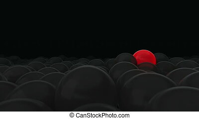 One red balloon is opposed by many other balloons. Dark background. Ideal title text background. One against all. Concept ideas. The concept of personality. Concept of individuality, genius, hero. Use the mask to easy change the color.