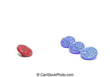 One red button and three blue ones isolated on white background