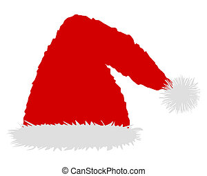 One red caps of Santa Claus on white