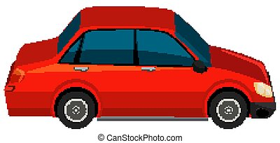 One red car on white background