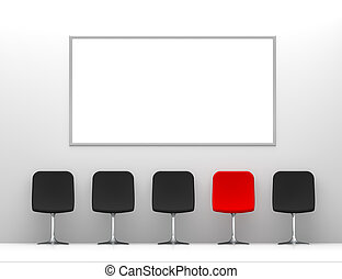 One Red Chair and Four Black Chairs in the White Interior with Billboard on the Wall