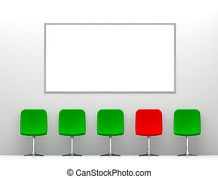 One Red Chair and Four Green Chairs in the White Interior with Billboard on the Wall