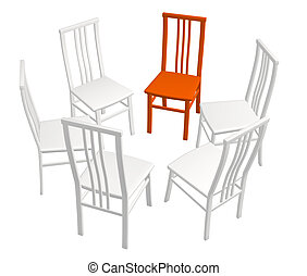 One red chair in a row of white chairs