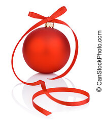 One red christmas ball and tape Isolated on white background