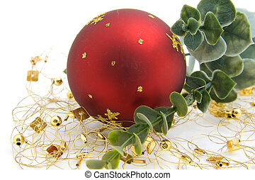One red christmas ball with decoration
