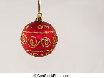 One Red Christmas Ball With Glitter