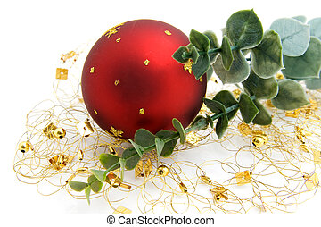 One red christmas ball with golden decoration