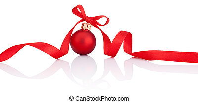 One Red Christmas ball with ribbon bow Isolated on white background