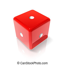One red dice - 3D red dice with one dot on all sides