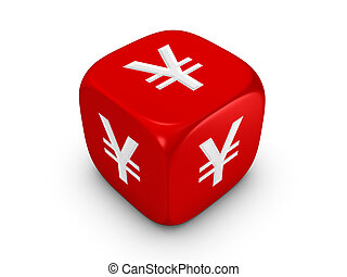 red dice with yen sign