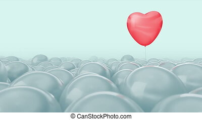 One red heart balloon is flying through other white balloons. Bright light medical background. Ideal title text background. Medical care concept, insurance medicine, heart health, blood pressure, hypertension, hemorrhoids. Use mask to easy change color.