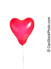 One red heart balloon on white