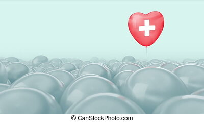 One red heart balloon with white cross is flying through grey balloons. Bright light medical background. Ideal title text background. Medical care concept, insurance medicine, heart health, blood pressure, hypertension, hemorrhoids. Use mask to easy change color.